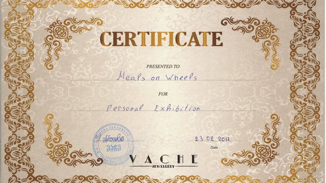 "Gallery ""Vache"" has presented the certificate to ""Meals on Wheels"" authorizing the team to organize another Charity Fair for free. Bunch of thanks to Inga Vacheishvili, wonderful hostess of a great gallery !!!"